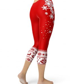 Christmas red patterned leggings