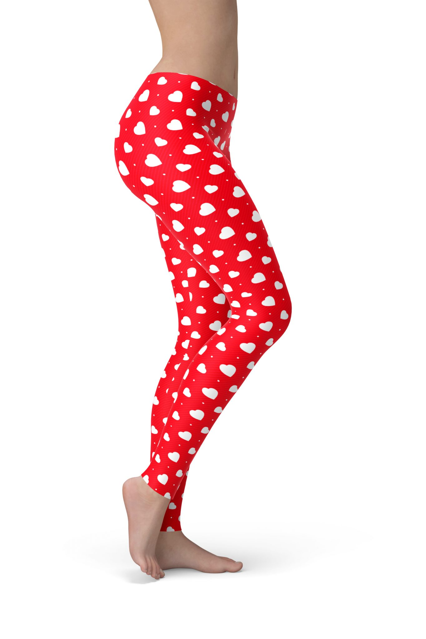 Red Spandex Womens Valentines Day Stretch Full Length Leggings